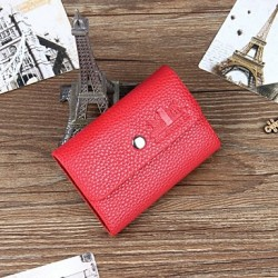 Hombres PU Casual Card & Id Holder- Brown / Rojo / Negro
