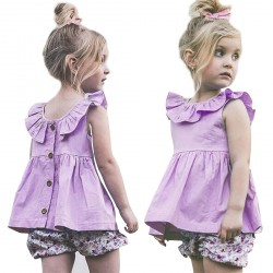 Baby Girls Dresses Butterfly Sleeve Skirt Purple Dress