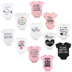Baby Boys Girls Lovely Sentence Short Sleeve Romper Jumpsuit Outfits
