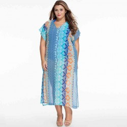 / Veil collar short-sleeved V-slit skirt style gown style Turkish beach sun dress 41542