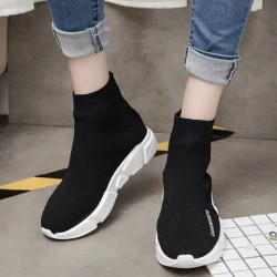 Black Thick Platform Shoes Hi-Top Sneakers Loafers for Women