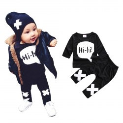 "Baby Boy Long Sleeve ""Hi"" Tops Sweatsuit Pants Leggings Outfit Set"