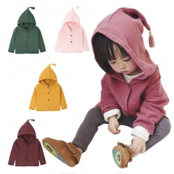 Baby Girl Hoodies Tops Tassel Hat Button Up Clothes