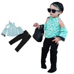 Baby Girl Blue Off Shoulder T-shirts Long Black Pants Set Clothes