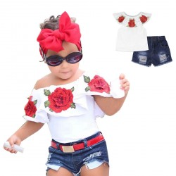 Baby Girls Flower Pattern Off Shoulder Tops Clothes