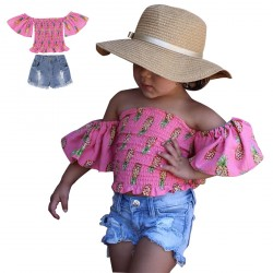 Baby Girls Pink Flower Pattern Off Shoulder Tops Short Pants Set Clothes