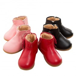 Kid's Girl's Waterproof Side Zipper Fur-lined Ankle Boot