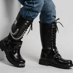 Men's Fashion Black Side Chain Design Buckle Leather Lace Up Boots