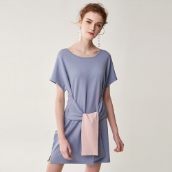 Casual Knit Womens Skirt Waistband Short Sleeve T-Shirt Dress