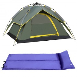Four-Person Outdoor Camping Prevent Hurricane Rainproof Double Tent With Single Inflatable Bed